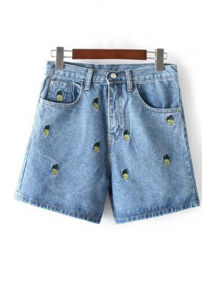 Pineapple Embroidery High Waisted Denim Shorts - Light Blue
