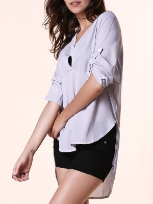 High Low Hem V-Neck Long Sleeve Blouse - Light Gray