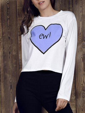 Heart Print Round Neck Long Sleeve T-Shirt - White