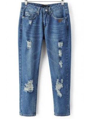 Ripped Pockets Bleach Wash Jeans - Denim Blue