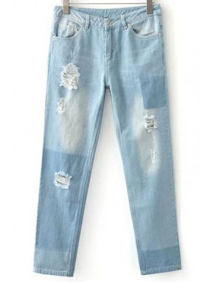 Ripped Casual Pockets Ombre Jeans - Light Blue