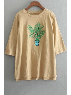 Oversized Crew Neck Plant Embroidered T-Shirt - Yellow