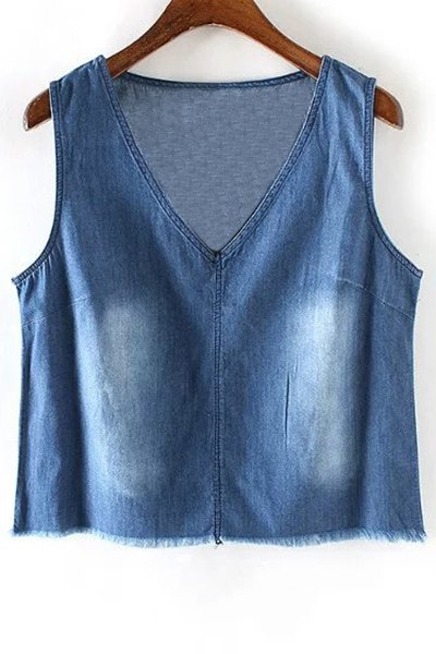 V-Neck Rough Selvedge Denim Tank Top