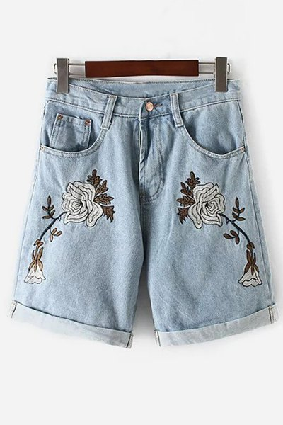 High Waisted Floral Embroidery Denim Shorts
