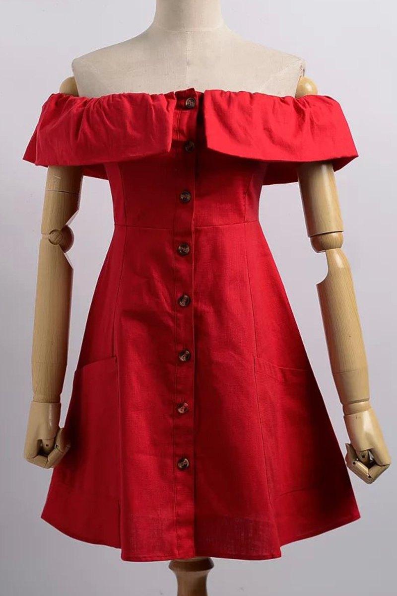 Cold Shoulder Button Front Closure Dress