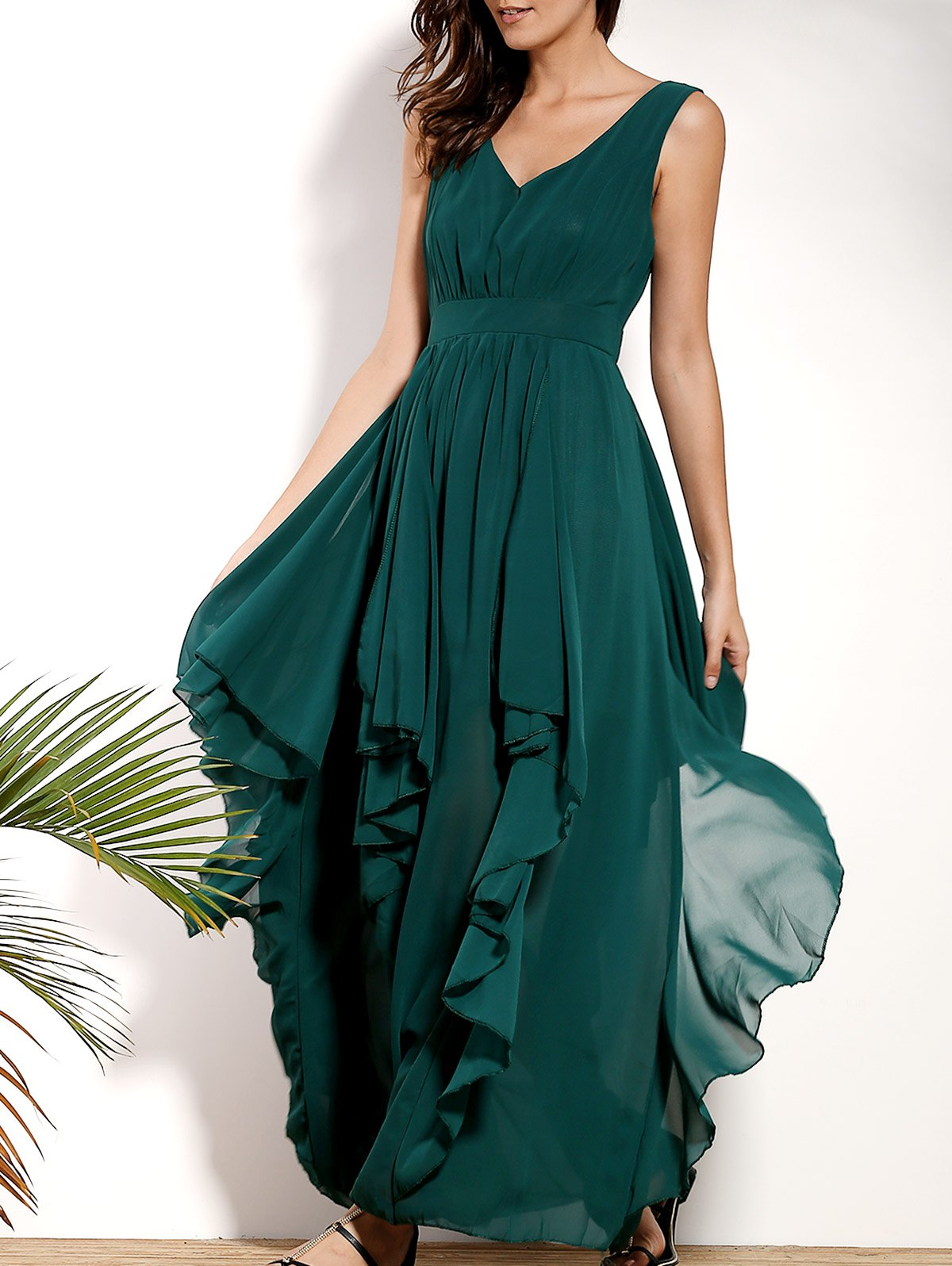 Plunging Neck Sleeveless Solid Color Flounce Ruffles Dress