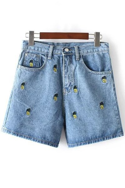 High Waisted Pineapple Embroidery Denim Shorts
