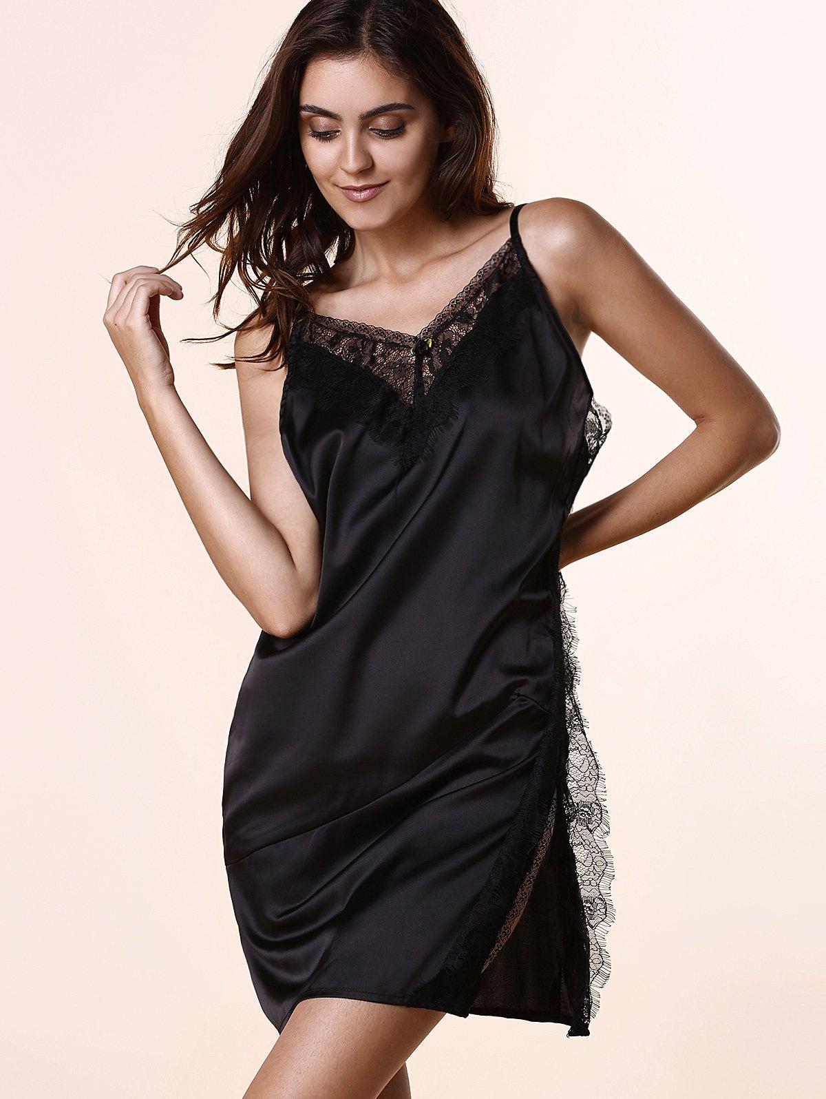 Open Back Lace Splicing Spaghetti Straps Dress