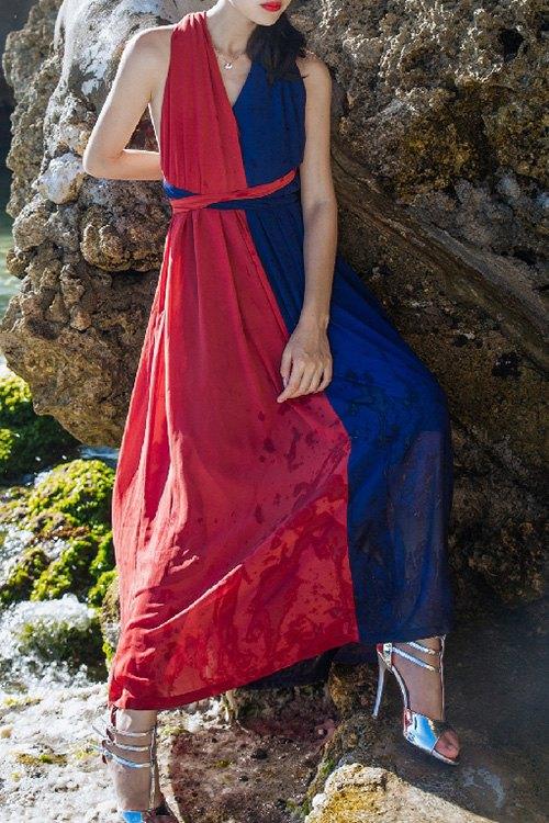 Color Block Backless V Neck Sleeveless Dress