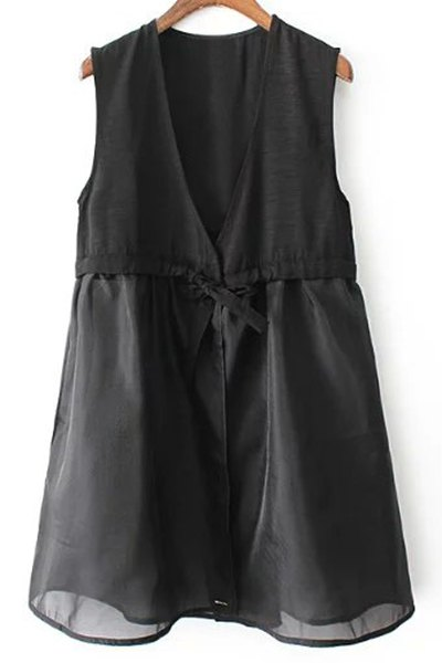 V-Neck A-Line Black Vest Dress