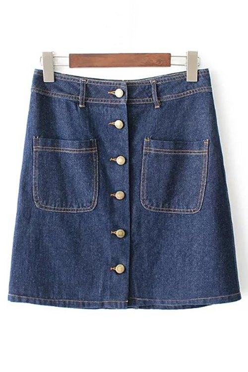 A-Line Button Front Denim Skirt