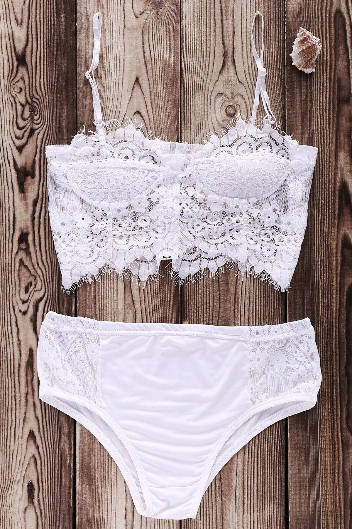 Cami White Lace Splicing Bikini Set