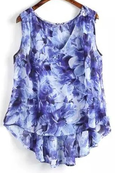 Flower Print V Neck High Low Tank Top 179940201