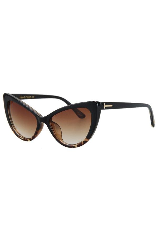 Letter T Shape Inlay Flecky Sunglasses