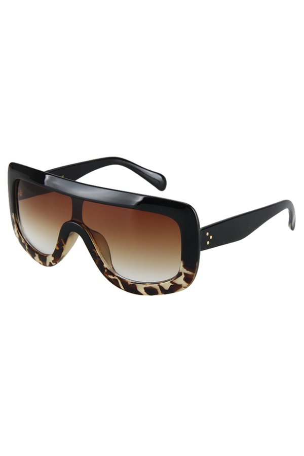Black Match Leopard Wrap Sunglasses