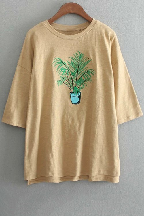 Round Neck 3/4 Sleeve Plant Embroidery T-Shirt