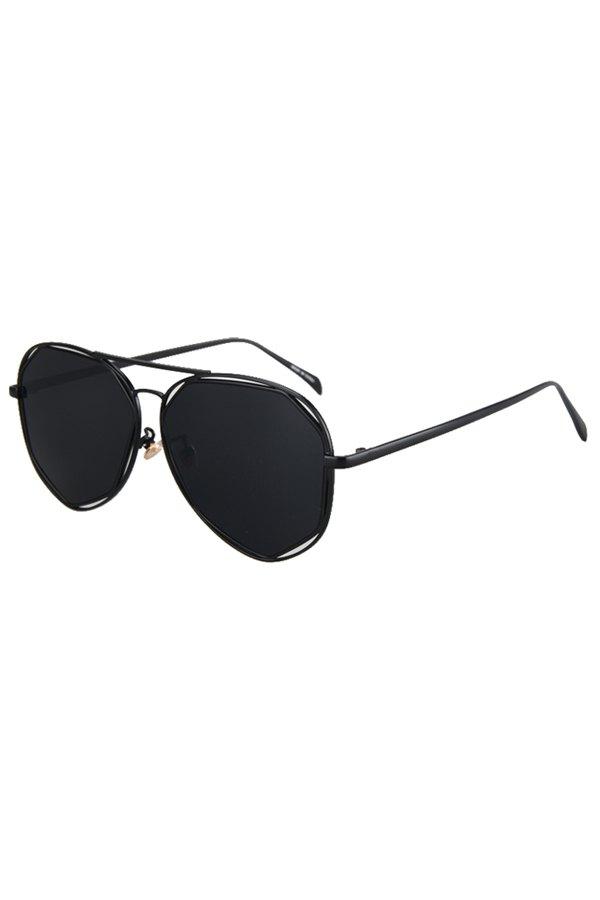 Black Irregular Alloy Frame Sunglasses