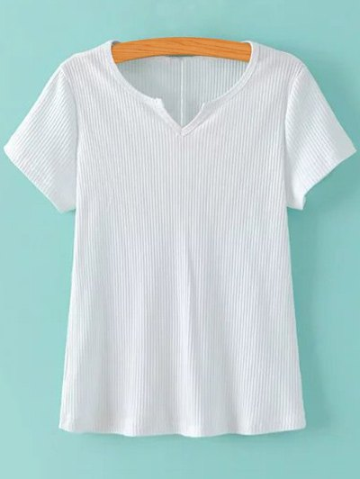 Ribbed Solid Color T Shirt 180010002
