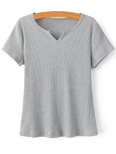 Ribbed Solid Color T Shirt 180010006