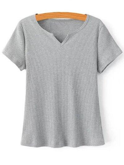 V-Neck Short Sleeve Ribbed Solid Color T-Shirt 180010005