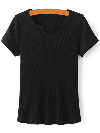 V-Neck Short Sleeve Ribbed Solid Color T-Shirt