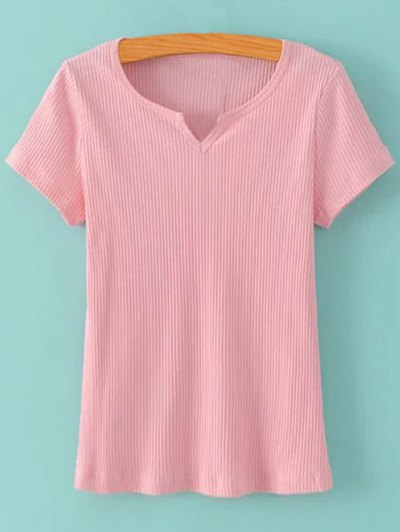 Ribbed Solid Color T Shirt 180010011