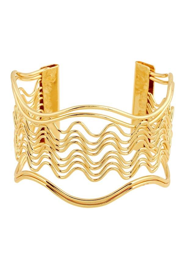 Hollow Out Wavy Striped Golden Bracelet For Women