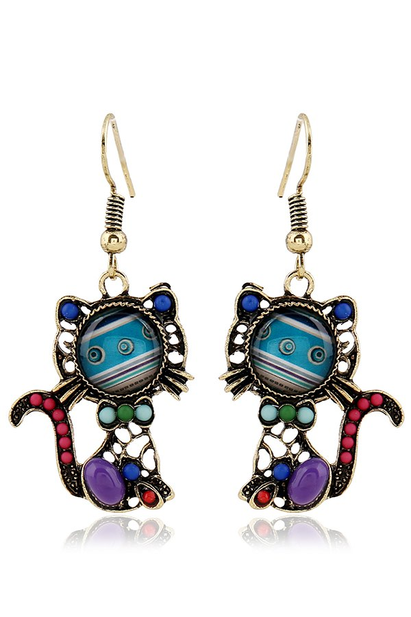 Bead Hollow Out Cat Pendant Earrings