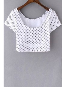 Polka Dot Scoop Neck Short Sleeve Cropped T-Shirt