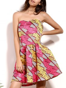 Geometric Print Bandeau A Line Dress - M