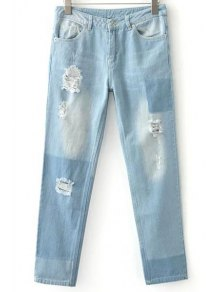 Ripped Casual Pockets Ombre Jeans - Light Blue M