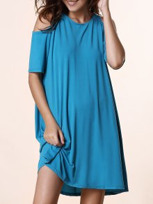 Solid Color Round Neck Short Sleeve Cold Shoulder Dress