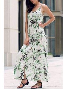 Front Slit Maxi Strap Dress - White