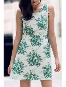 Printed Waisted Mini Dress - Green