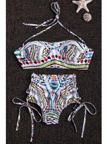 Halter Neck Colorful Geometric Print Bikini Set