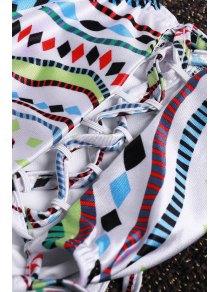 Halter Neck Colorful Geometric Print Bikini Set - COLORMIX S