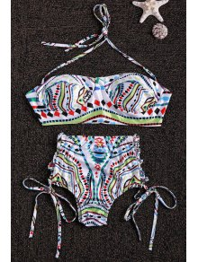 Halter Neck Colorful Geometric Print Bikini Set
