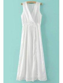 Deep V Neck Maxi Dress - White