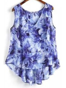 Flower Print V Neck High Low Tank Top