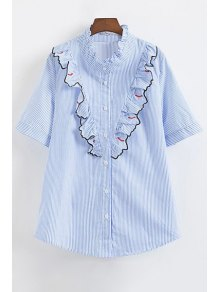Striped Eyelash Pattern Ruffle Shirt - Blue