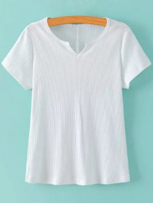 Ribbed Solid Color T-Shirt