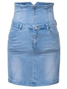Waist Cincher Denim Mini Skirt - Denim Blue M