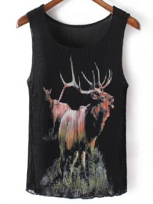 Pleated Scoop Neck Elk Print Tank Top