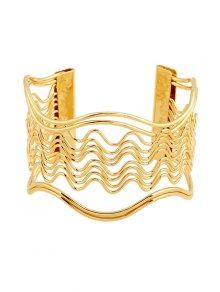 Hollow Out Wavy Striped Golden Bracelet