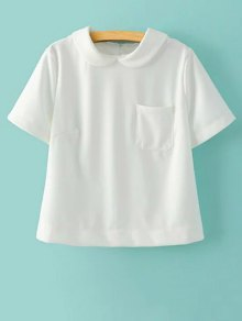Solid Color Peter Pan Collar Short Sleeve Pocket T-Shirt