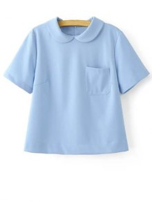 Solid Color Peter Pan Collar Short Sleeve Pocket T-Shirt - Light Blue L