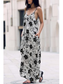 Low Cut Maxi Strap Long Tunic Dress