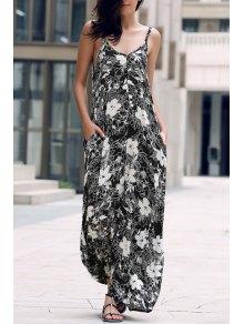 Escotado Vestido Maxi De La Correa - Negro