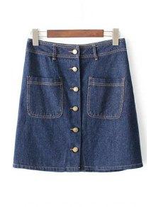 Button Front Denim Skirt - Blue M