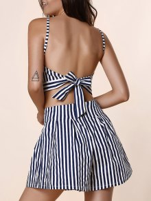 Backless Striped Halter Manches Crop Top Et Stripe Vrac Shorts Taille Haute - Bleu